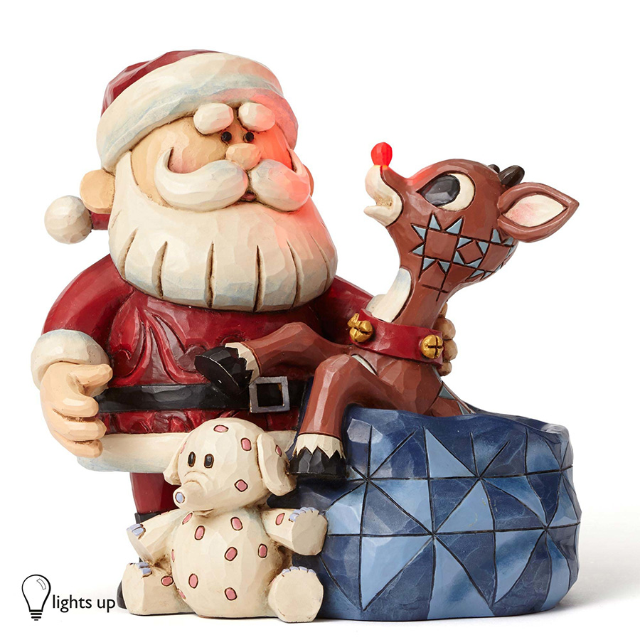 【JIM SHORE】ルドルフ -Santa with Rudolph in Toy Bag- <クリスマス>