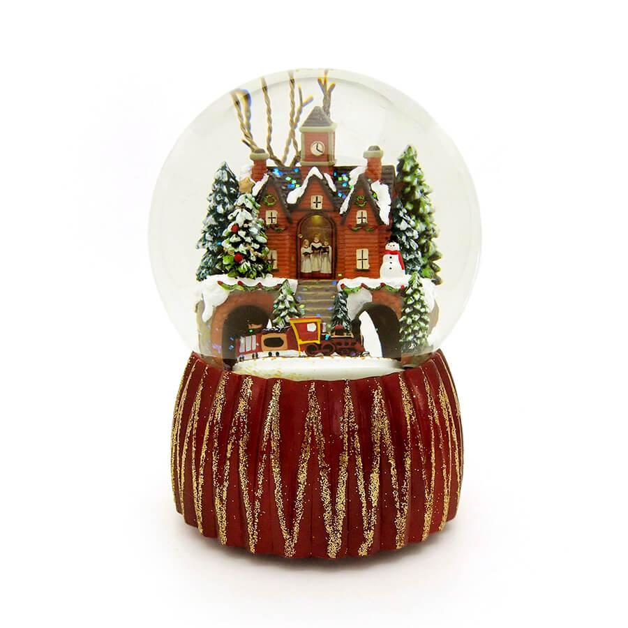 ◇先行予約◇【Roman】ビルディングウィズトレイン ミュージカルスノードーム <クリスマス>