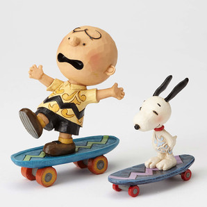 【JIM SHORE】スヌーピー&チャーリーブラウン スケートボードフレンズ